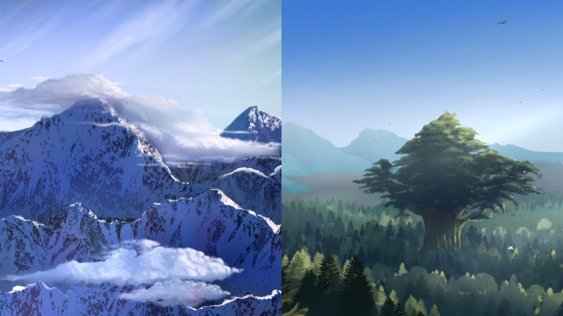 Some landscapes in Ellara as highlighted in the Adventurer's Guide