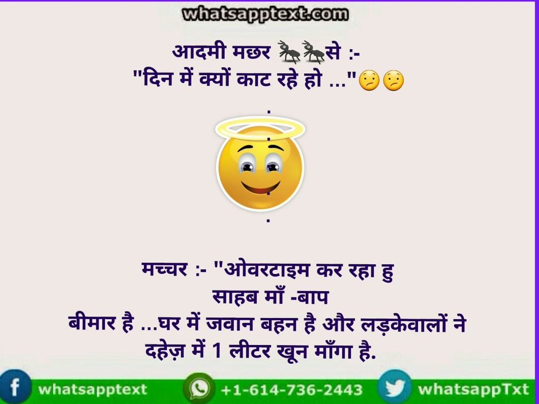 why Mosquito is doing overtime funny answer...whatsapp hindi jokes with image
