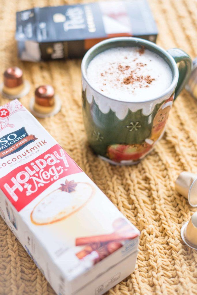 4 Easy, Festive Drinks To Make This Holiday Season #whatsavvysaid #christmas #holidayseason #holidayfood #holidaydrinks #dairyfree #sodelicious #holidaynog #eggnoglatte #coconuteggnog