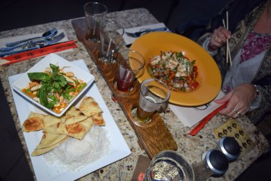 Dining outdoors at the Kettle Valley Station Pub
