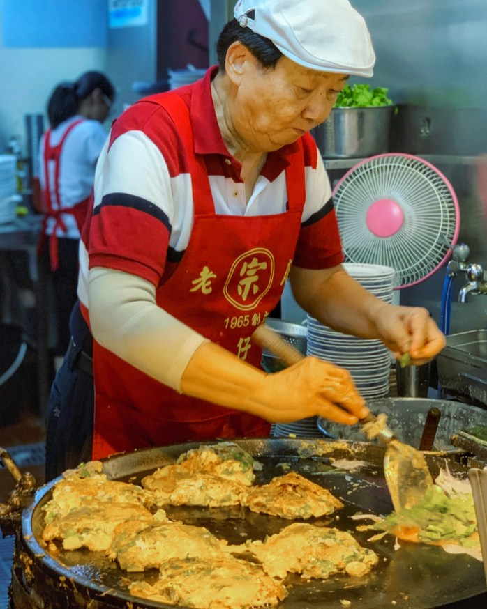 Oyster Omelettes frying in the night market
