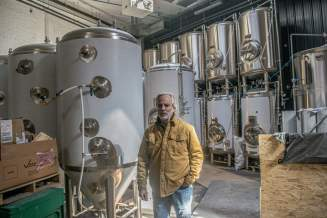 Mike Spence in the (temporarily) white-wrapped brewhouse