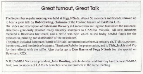 Rob Rowling visits Victoria. From WB Oct 1990