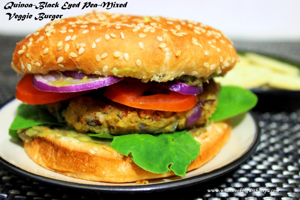 Quinoa-Black Eyed Pea-Mixed Veggie Burger