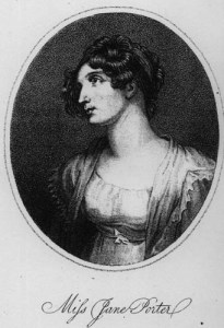 Black and white etching portrait of a woman in a regency dress, lace jacket and with elaborate front-curls hairstyle