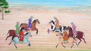 A group of Mughal princesses on horseback play polo