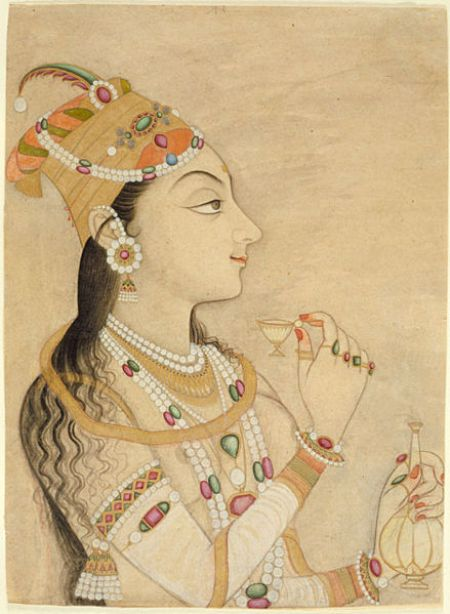 A 17th century painting shows Nur Jahan wearing extremely elaborate jewelry and a bejeweled turban-like hat, holding a small teacup.