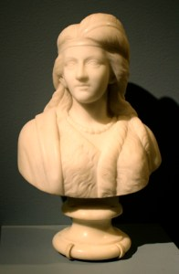 A marble bust in Neo-Classical style of a woman