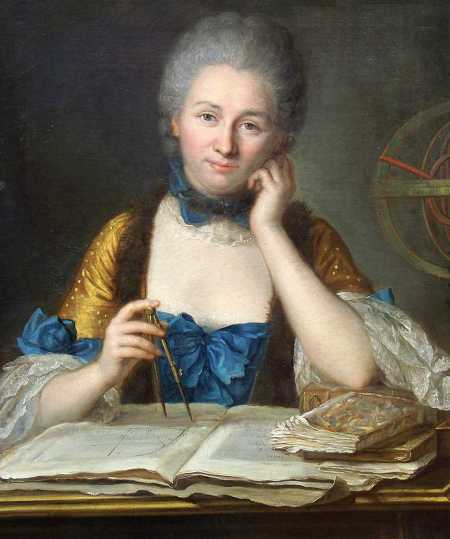 A woman in 18th century dress with grey powdered hair holds a mathematical instrument and sits in front of a pile of books and papers