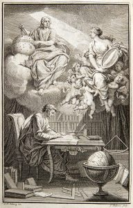 """An engraving of a man sitting on a cloud looking down at a woman holding a mirror, """"bouncing"""" his thoughts to a man sitting writing at a table"""