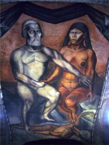 A mural showing two nude figures in modernist style, Cortez grey and white, Malintzin brown and yellow. They crush beneath their feet a young male figure.