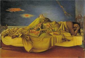 A side-reclining female figure draped in yellow fabric, her body becomes a landscape with buildings and forests, etc on her hips and legs.