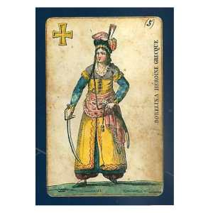 Antique trading card featuring a woman in turkish trousersand headdress carrying a sword