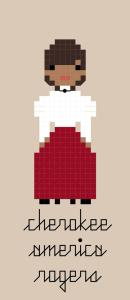 Pixel-style cross stitch pattern of Cherokee America Rogers