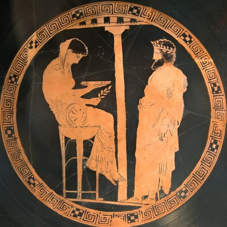 Ancient Greek image of a woman on a stool with a bowl and laurel leaf with a man in a toga facing her