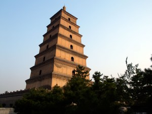 The Big Wild Goose Pagoda, a tiered ancient building in modern-day Xi'an