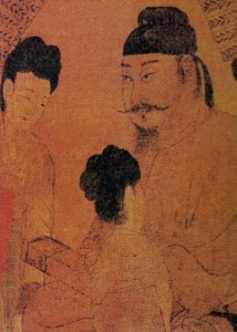 A painting of a Chinese man, Wu Ze Tian's first husband, seated attended by two women.