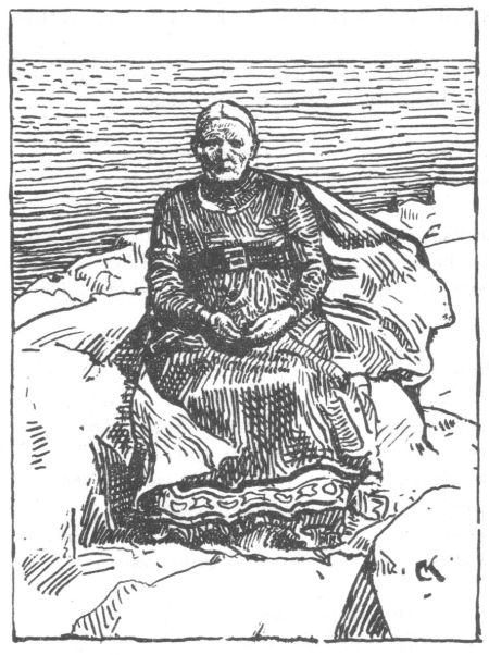 Black and white etching portrait of Gunnhild as an old woman sitting on a rock wearing a high-waisted black dress and a long white cape.