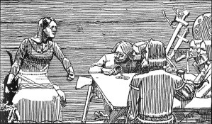 Black and white etching of Gunnhild standing near a wooden table where men dressed in 10th century clothing sit talking with a pile of weapons in the corner