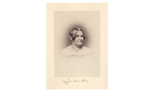 Lydia Maria Child, black and white engraving portrait of white woman with dark hair and light dress. Head-and-shoulders portrait.