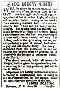 """An advertisement for the return of """"runaway slave"""" Harriet Jacobs"""