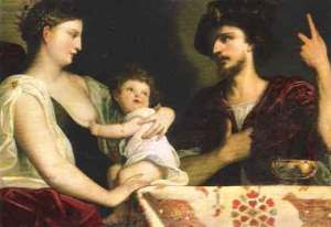 A woman with pale skin and dark hair cradles a small child with curly dark hair, wearing a white nightgown. A man with dark hair, a light beard, and wearing a robe and dark hat looks on from the right of the portrait.