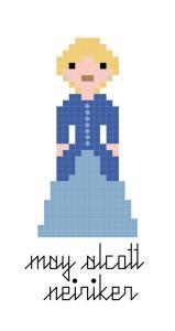 May Alcott Nieriker pixel-style cross stitch pattern
