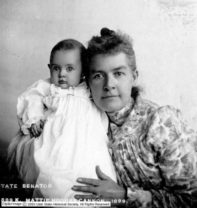 Martha Hughes Cannon and a baby in a white dress