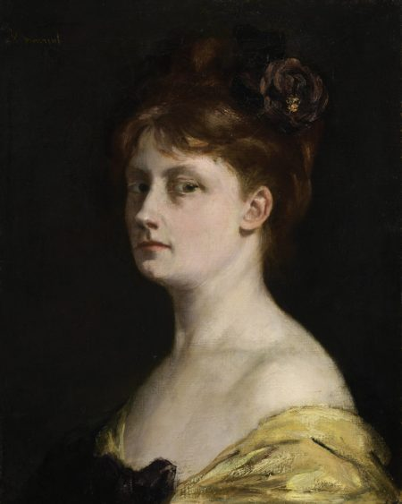 Victorine Meurent self-portrait. A woman in an off-the-shoulder yellow silk dress stands in 3/4 profile staring at the viewer. She has dark hair styled on top of her head, and pale skin with visible circles under her eyes.