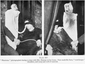 """Two photos show Helen Duncan, blindfolded, with a piece of white fabric coming out from under her blindfold and attached to two different Papier-mâché """"ghosts"""" which are clearly constructed of fabric, paper, and wire."""