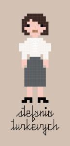 Pixel-style cross-stitch pattern of Stefania Turkevych