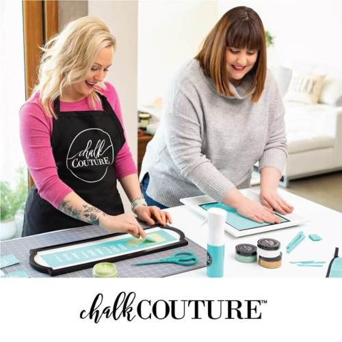 Women creating custom signs with chalk couture transfers, chalk couture chalk paste and accessories.