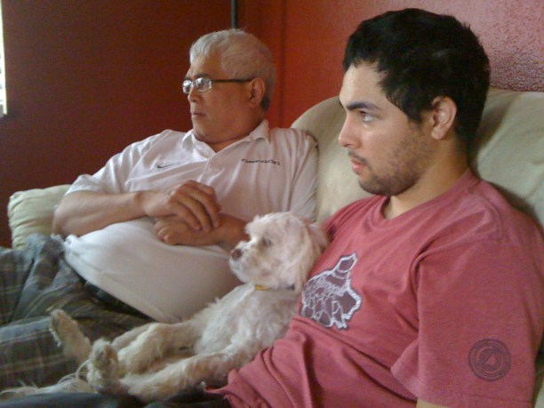 Watching the game with Grand Pup and Big Pup
