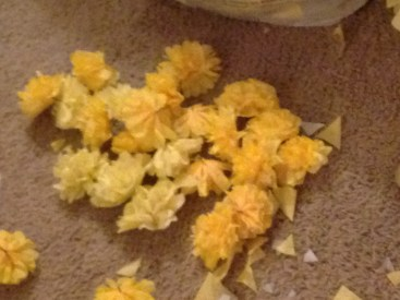 Oodles and oodles of tiny little finger killers! I mean, tissue paper flowers. Thankful for RJ's help here!