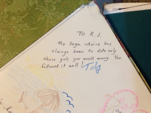 The letter Toby wrote in our wedding guestbook.