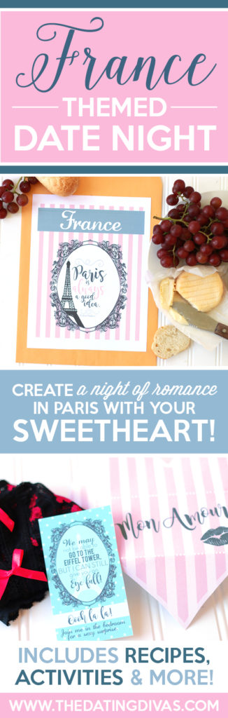 Great date night at home idea for my husband. Create a Night in Paris, France with fun little touches, food, and French movies.