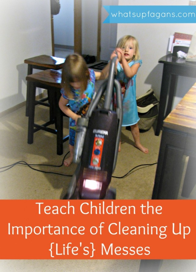 Today we're teaching kids the importance of cleaning up their messes, in the hopes that they'll be prepared for tomorrow when the messes are much greater than spilled cereal. Part of Instilling Values in Our Kids Series | whatsupfagans.com