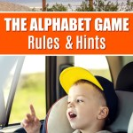 image of toddler pointing out window as he plays the alphabet game during a road trip and a sign that says Zzyzx Rd
