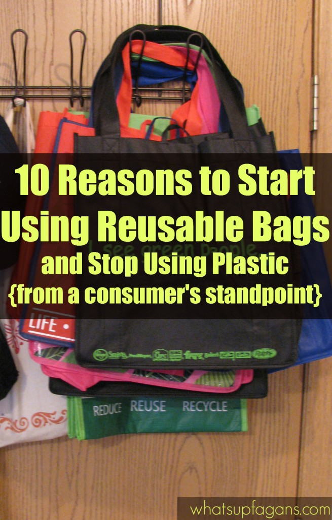10 Reasons to Start Using Reusable Bags and Stop using plastic, from a consumer's standpoint. Plus, it's green and eco-friendly.