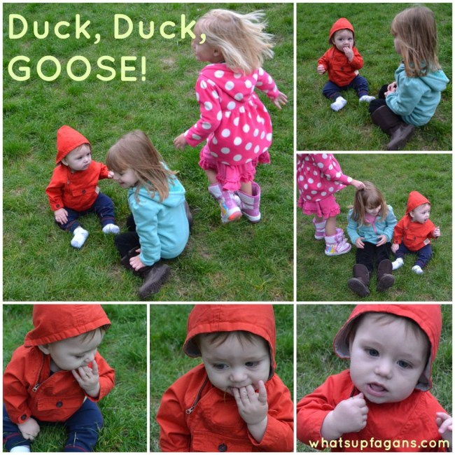 Kids and baby playing duck duck goose