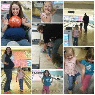 Pregnant bowling family date night out collage
