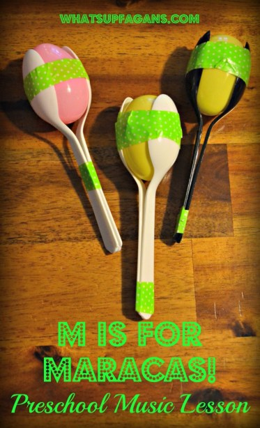 M is for Music Preschool Lesson Plan - Make homemade maracas made from spoons, tape, egg, and rice! whatsupfagans.com