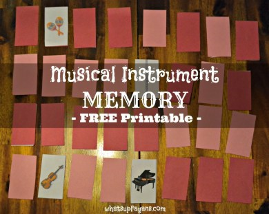 Musical Instrument Memory Game - Free Printable. whatsupfagans.com
