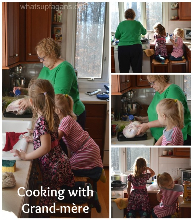 Twins cooking with grand-mere