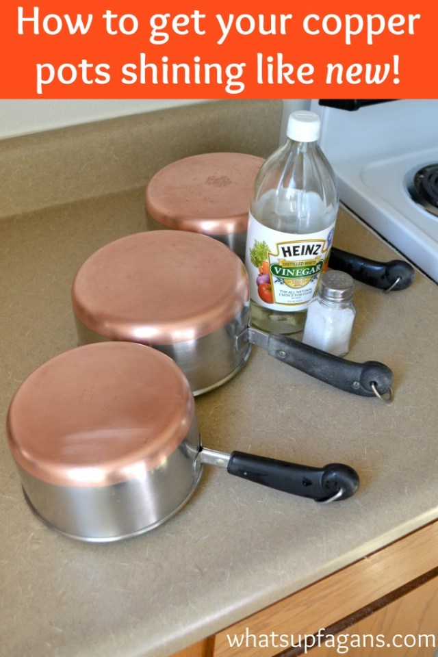 clean copper pots with vinegar and salt and have them shiny like they were brand new again!   whatsupfagans.com