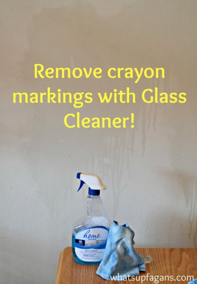 Remove crayon markings on walls with glass cleaner