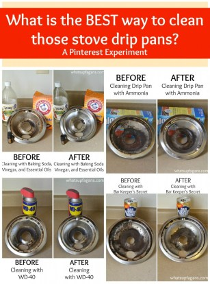 A pinterest experiment - What really is the BEST way to clean stove drip pans? What methods work better than others? Come find out!   whatsupfagans.com