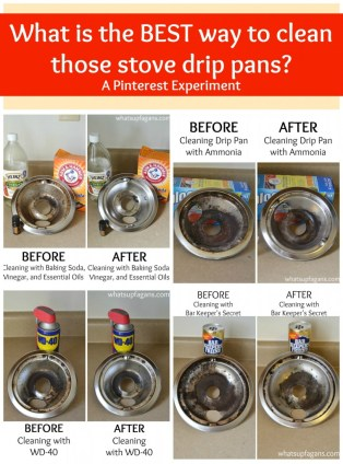 A pinterest cleaning experiment - What really is the BEST way to clean stove drip pans? What methods work better than others? Come find out!   whatsupfagans.com