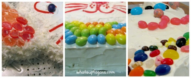 I love all the different ways you can decorate an Easter bunny cake - coconut, jelly beans, Robin's eggs, licorice, and more! | whatsupfagans.com