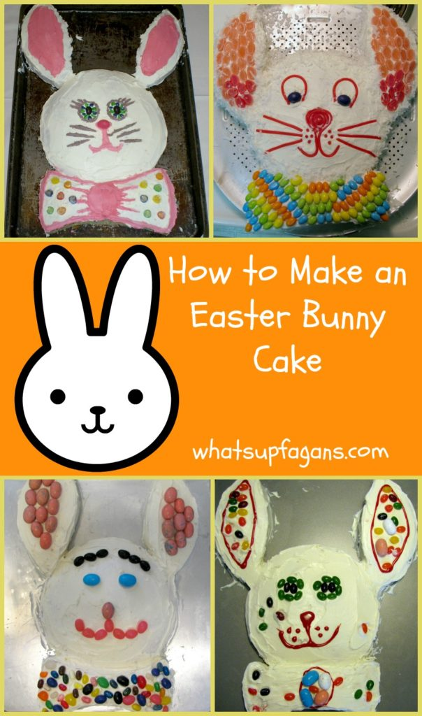 How to make an Easter Bunny Cake! It's such a great Easter tradition to let your kids decorate their bunny cake with candy.   whatsupfagans.com